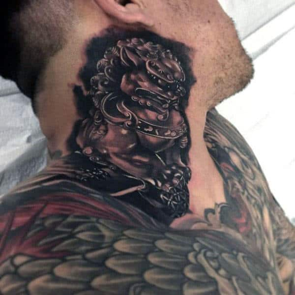 Neck Foo Dog Shaded Guys Tattoos