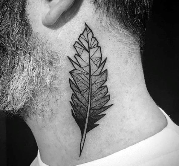 Neck Geometric Feather Tattoo Ideas For Males