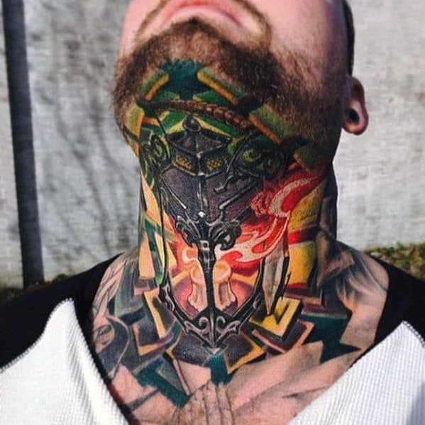 Neck Lantern Tattoo On Men