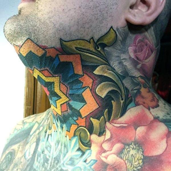 Neck Optical Illusion Male Tattoo Colorful