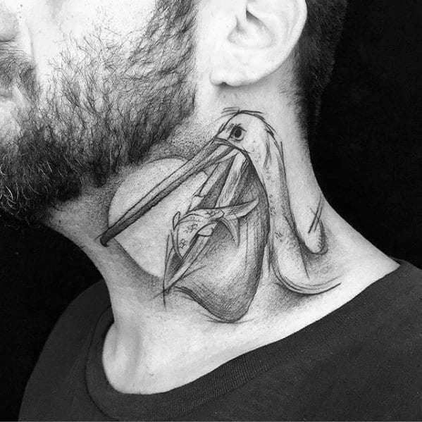 Neck Pelican With Fish Tattoo Design Ideas For Males