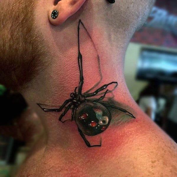 Neck Realistic Spider Tattoo Male