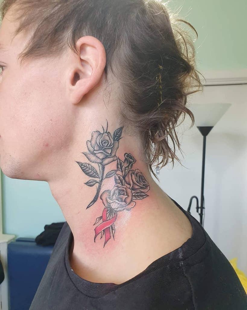 neck rose with stem tattoos lowkey_ink_epidermal_artistry