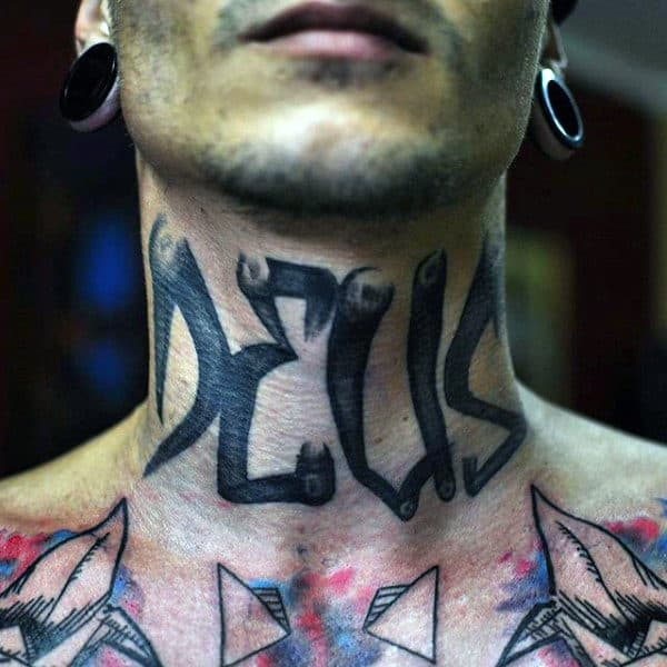 Neck Street Art Graffiti Tag Word On Neck For Men