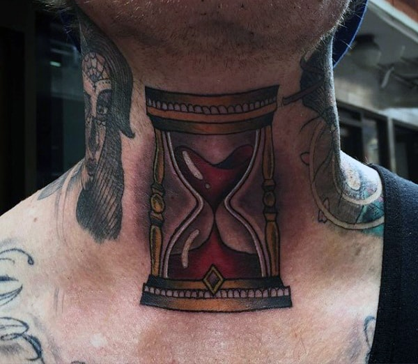 Neck Tattoo Of Gold Hourglass With Red Sand For Men