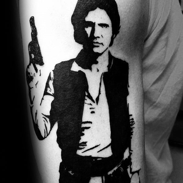 Negative Space Arm Star Wars Han Solo Male Tattoo Designs