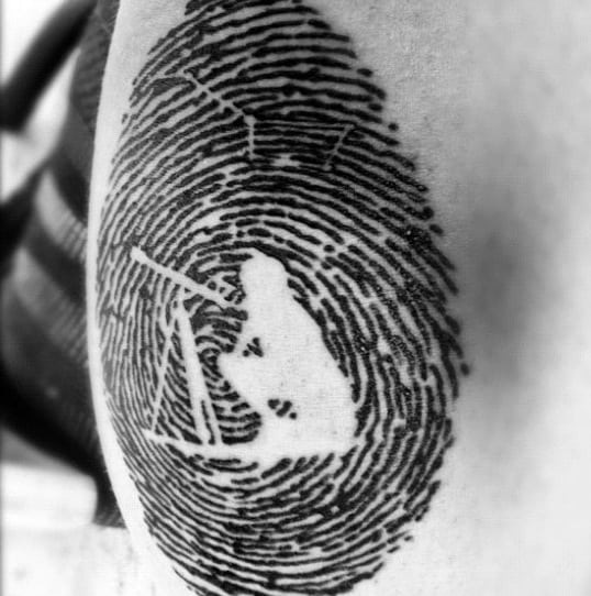Negative Space Astronomer Fingerprint Guys Tattoo Designs
