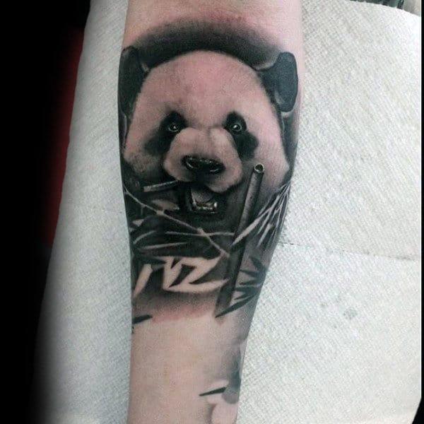 Negative Space Bamboo Leaves Mens Panda Forearm Tattoos
