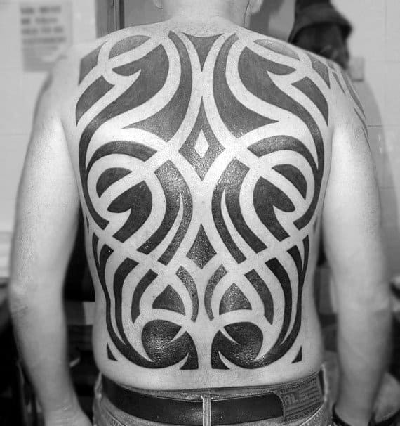Negative Space Blackwork Awesome Tribal Tattoo Designs For Males