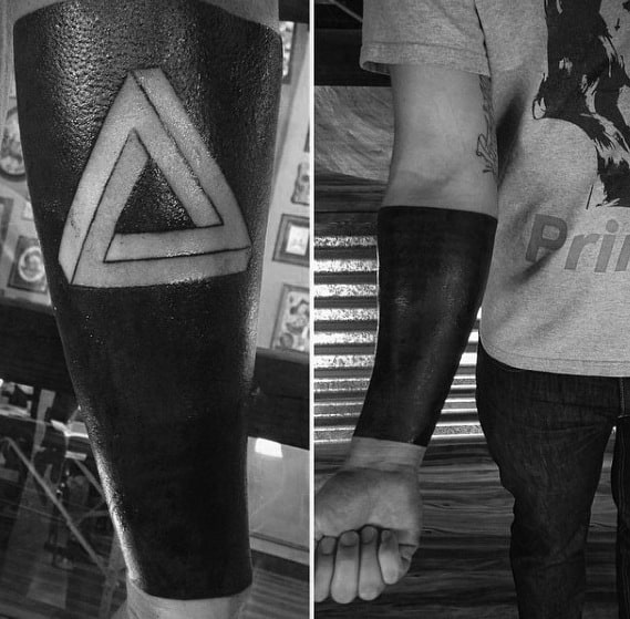 Negative Space Blackwork Forearm Sleeve Masculine Penrose Triangle Tattoos For Men