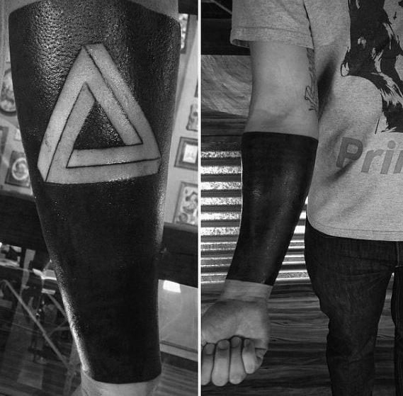 Negative Space Blackwork Forearm Sleeve Masculine Penrose Triangle Tattoos For Men
