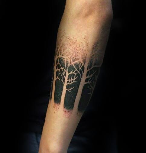 Negative Space Blackwork Guys Simple Tree Forearm Band Tattoo