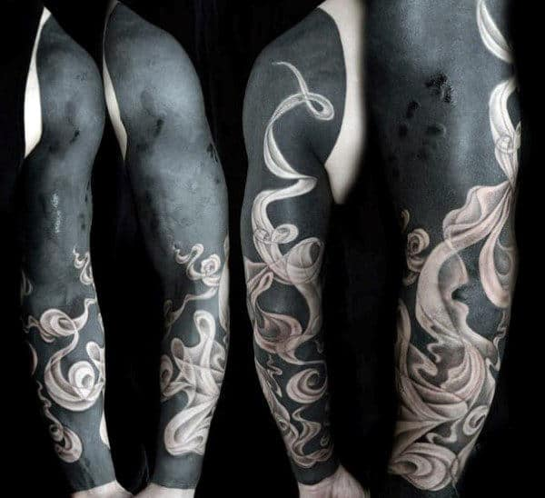 Negative Space Blackwork Mens Smoke Tattoo Full Sleeve