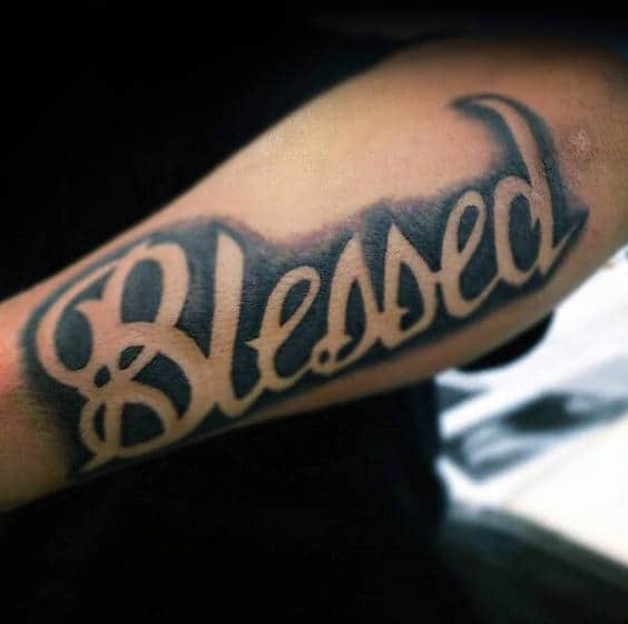 Negative Space Blessed Black Ink Guys Forearm Tattoo