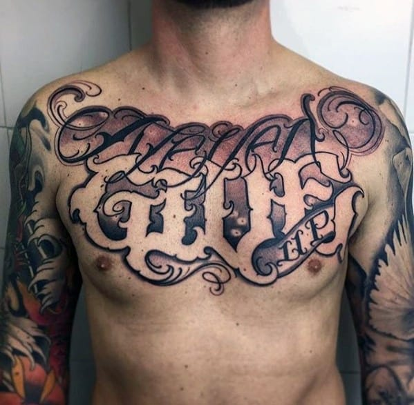 Negative Space Chest Never Give Up Male Tattoos