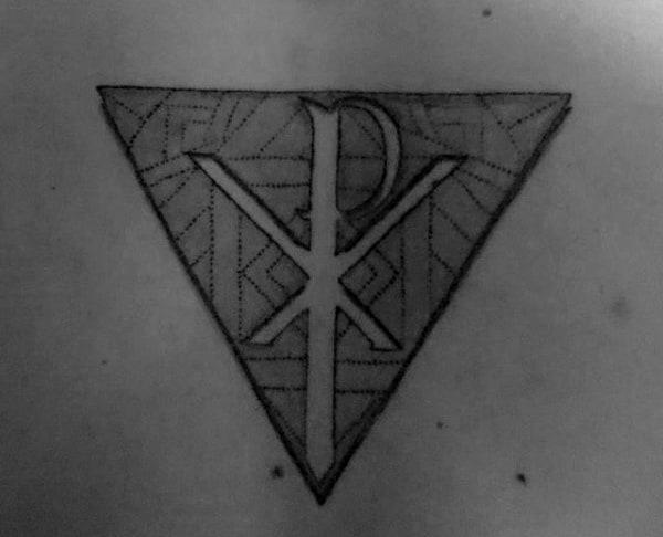Negative Space Chi Rho Triangle Male Back Tattoos