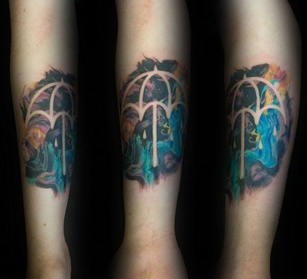 Negative Space Colorful Watercolor Umbrella Tattoo Designs For Guys