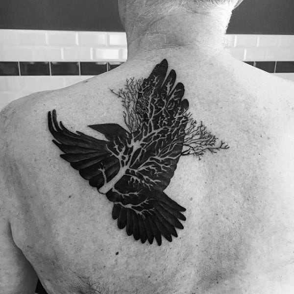 Negative Space Crow Tree Mens Back Tattoo