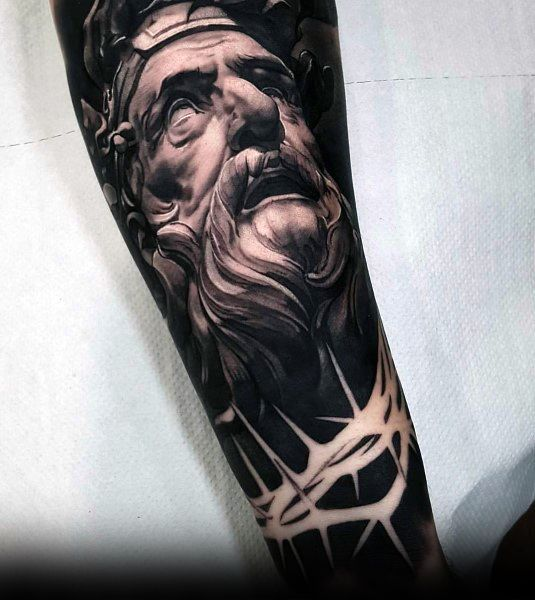 Negative Space Crown Of Thorns Portrait Black Ink Coolest Tattoos For Men