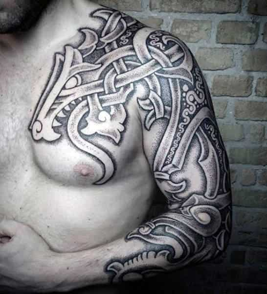 Negative Space Dotwork Mens Celtic Tribal Dragon Shoulder Tattoos