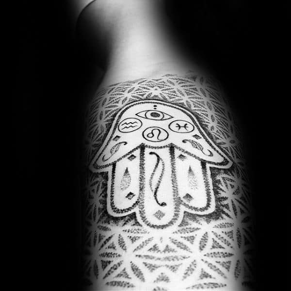 Negative Space Dotwork Mens Flower Of Life Hamsa Sleeve Tattoos