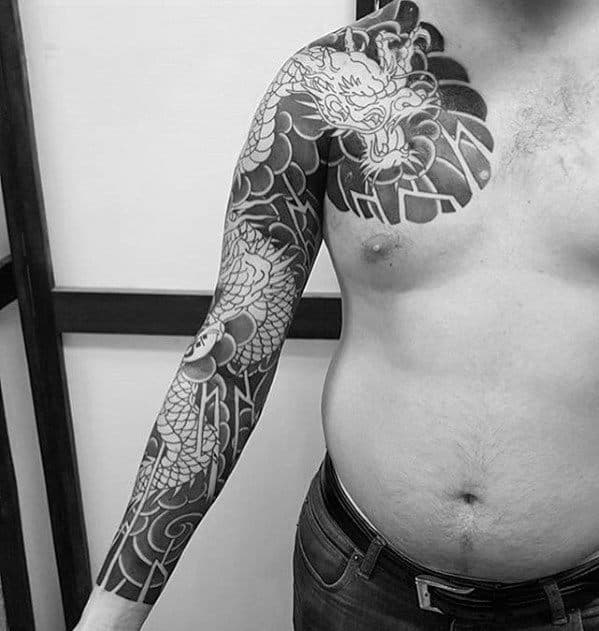 Negative Space Dragon Arm Guys Japanese Tattoos