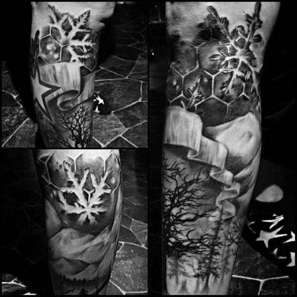 Negative Space Elbow Guys Snowflake Tattoos