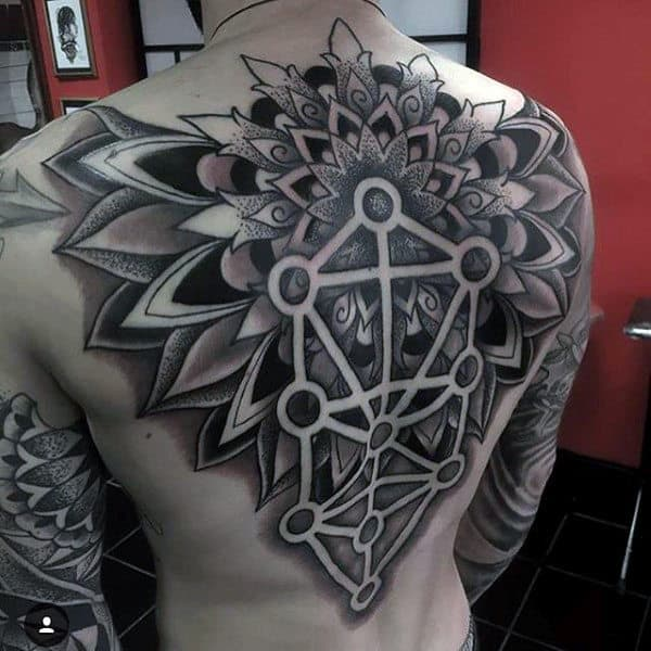 Negative Space Floral Geometric Artistic Mens Back Tattoos