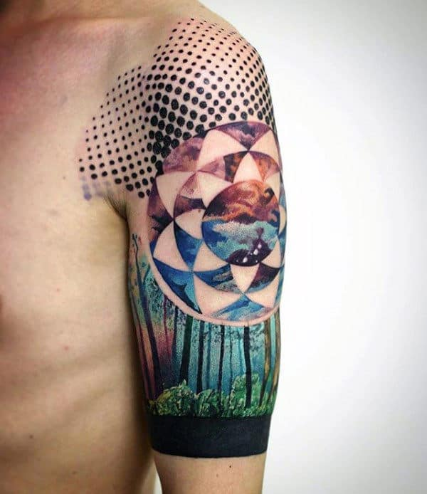 Negative Space Forest Artistic Mens Half Sleeve Tatotos