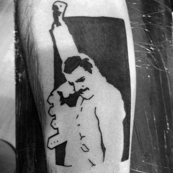 Negative Space Freddie Mercury Male Tattoos On Forearm
