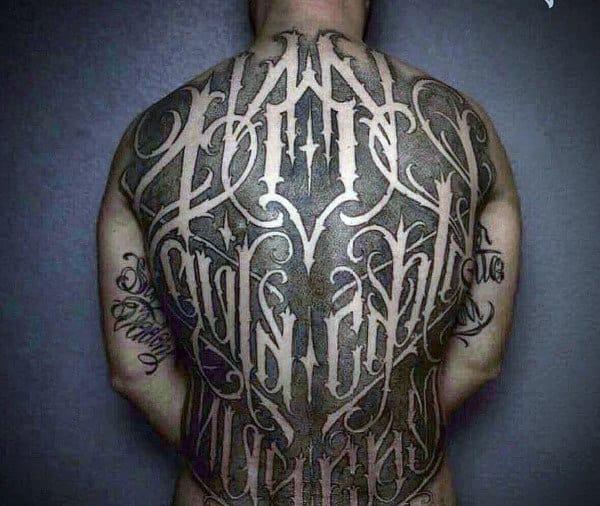 Negative Space Full Back Masculine Guys Script Tattoos