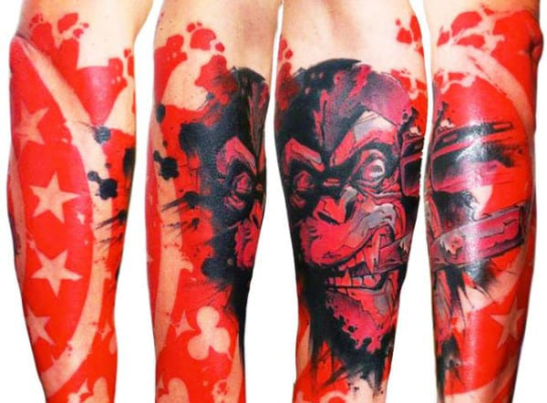 Negative Space Gorilla Red Ink Guys Forearm Sleeve Tattoo