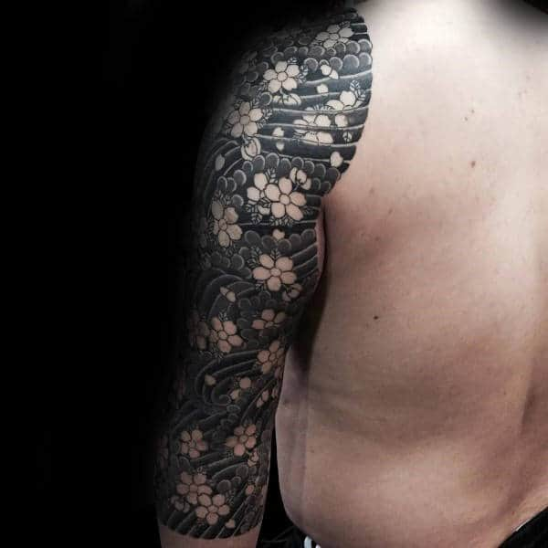 Negative Space Guys Cherry Blossom Japanese Tattoo