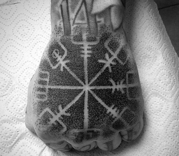 Negative Space Guys Dotwork Rune Hand Tattoo