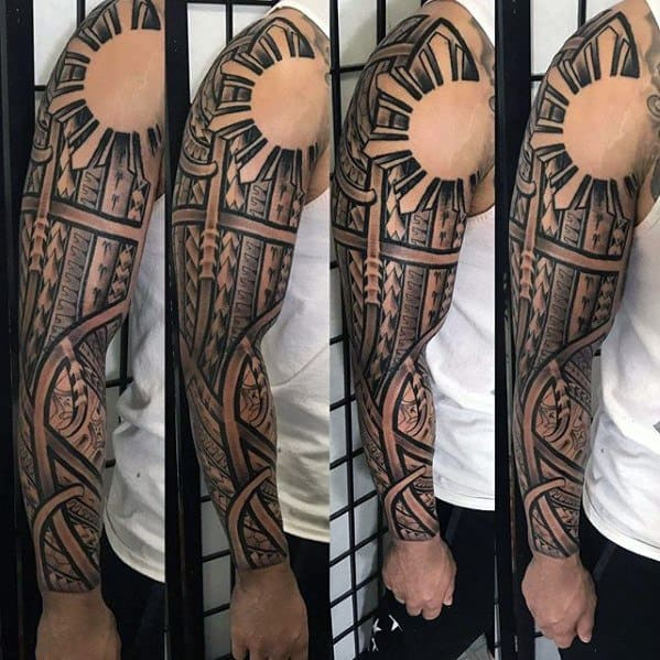 Negative Space Guys Filipino Sun Full Sleeve Tribaltattoo Design Ideas