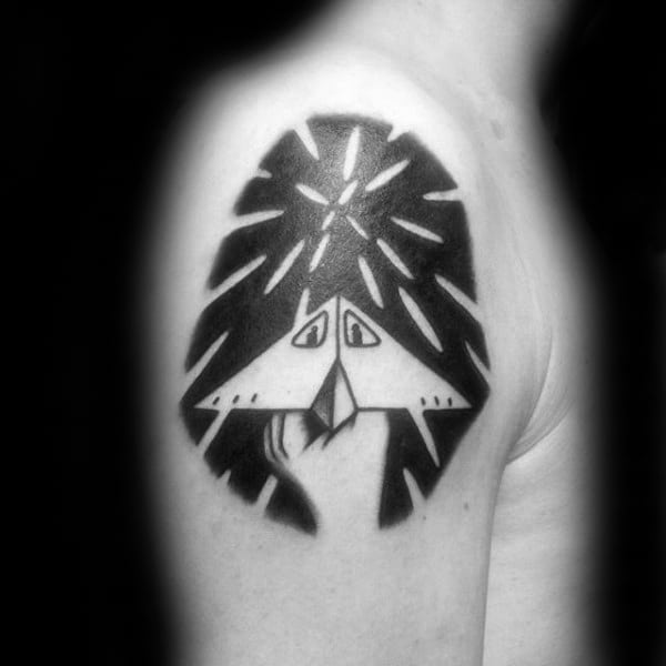 Negative Space Guys Paper Airplane Upper Arm Tattoo Inspiration