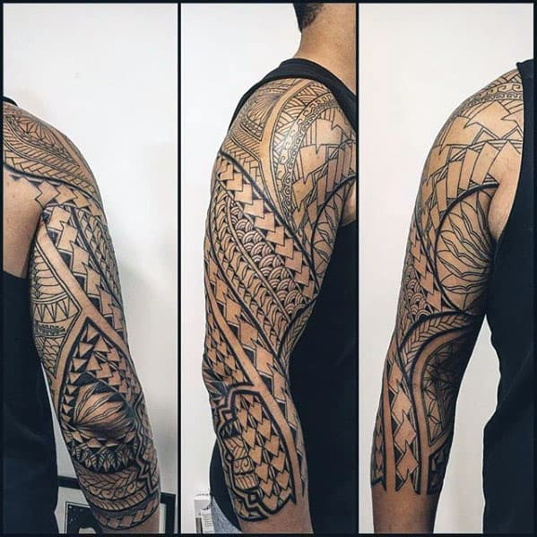 Negative Space Guys Unique Polynesian Tribal Half Sleeve Tattoos
