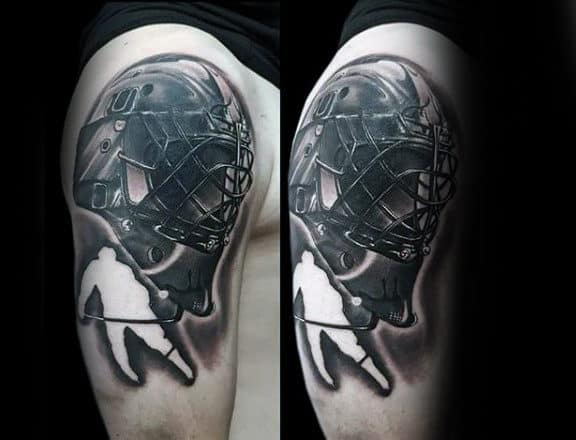Negative Space Hockey Player With Mask Male Arm Tattoo Ideas