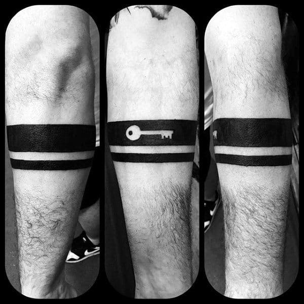 Negative Space Key Black Band Mens Leg Tattoo Design Inspiration