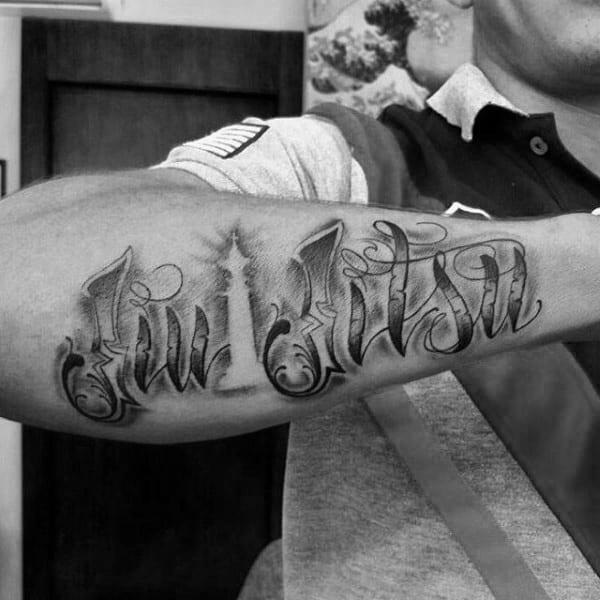 Negative Space King Chess Piece With Jiu Jitsu Words Mens Outer Forearm Tattoo