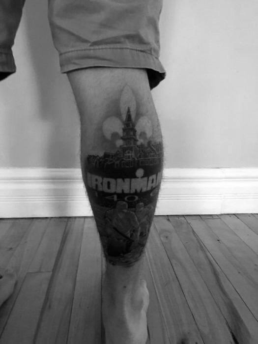 Negative Space Leg Guys Ironman Triathlon Tattoos