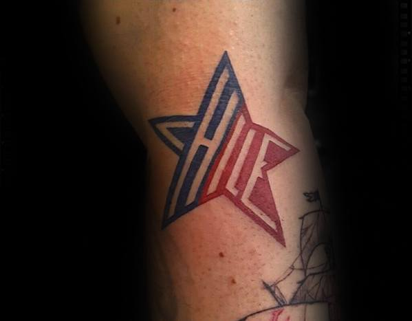 Negative Space Lettering Guys Red And Blue Simple Star Arm Tattoo