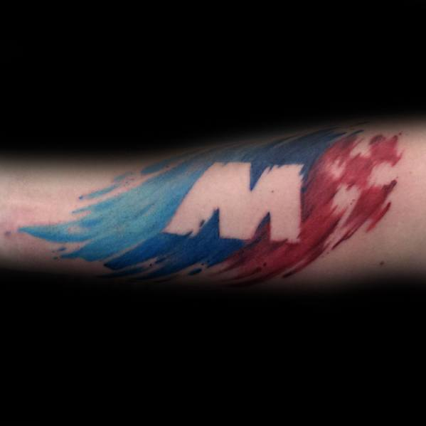 Negative Space M Flag Watercolor Guys Tattoo Bmw