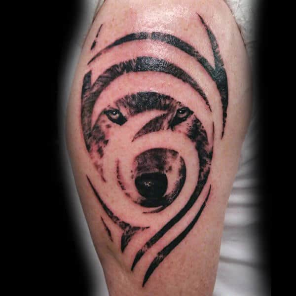 Negative Space Male Tribal Wolf Tattoos On Arm