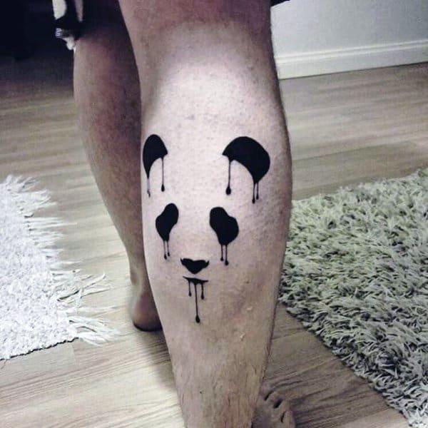 Negative Space Mens Dripping Paint Panda Leg Calf Tatoos