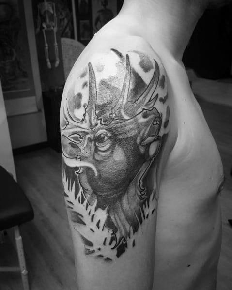 Negative Space Mens Elk Half Sleeve Tattoos