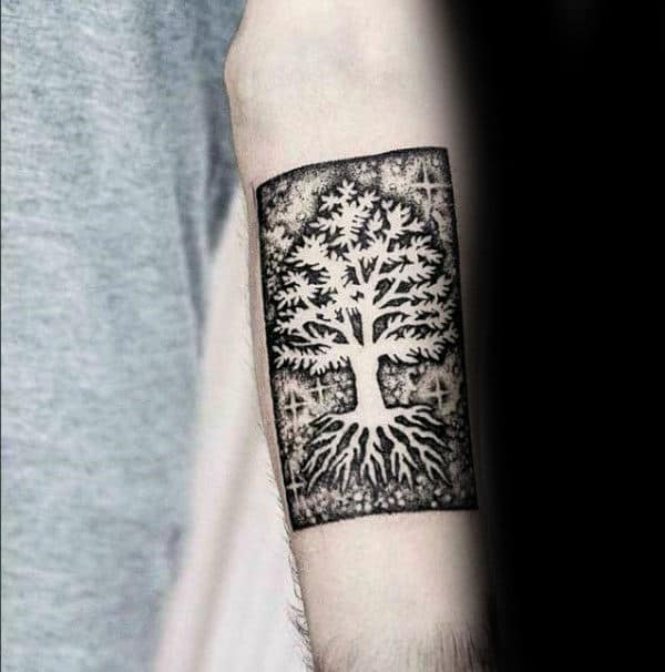 Negative Space Mens Inner Forearm Tattoo Designs