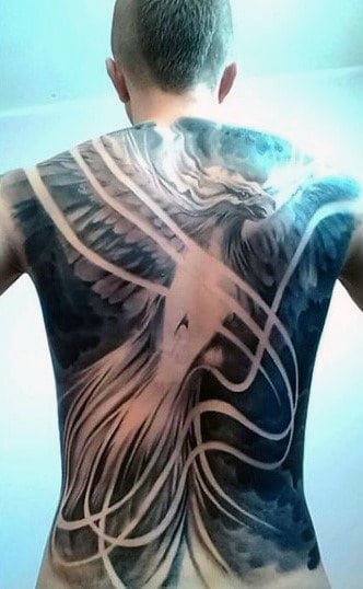 Negative Space Mens Phoenix Full Back Tattoos