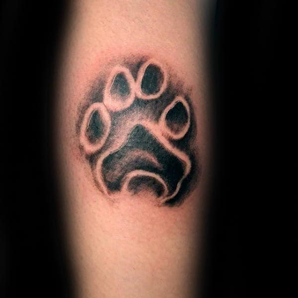 Negative Space Mens Shaded Dog Paw Tattoo