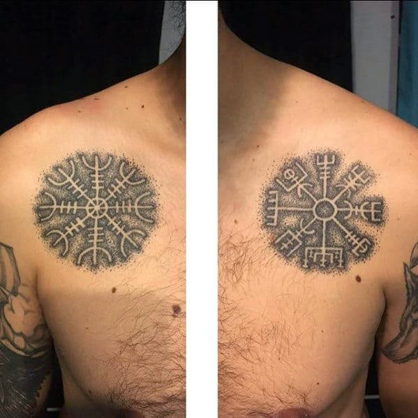 Negative Space Mens Viking Compass Dotwork Chest Tattoo